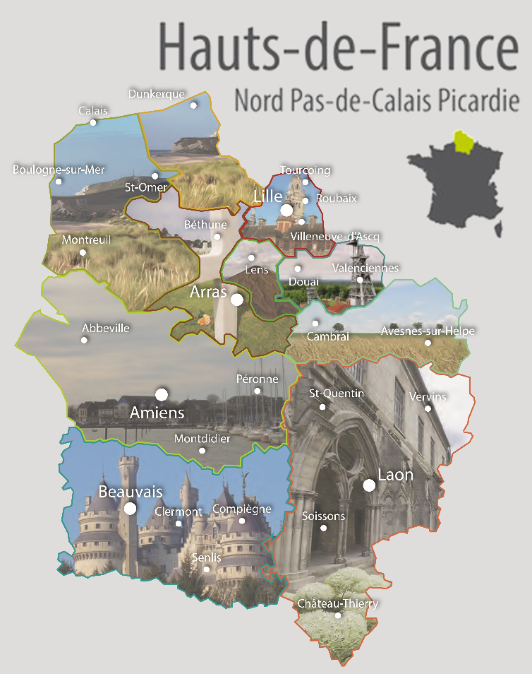 Maps of Northern France with its illustrated different destinations